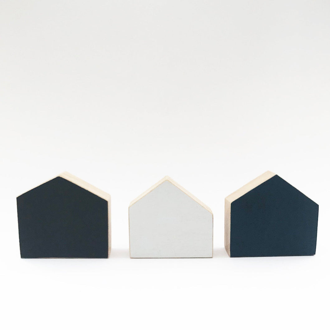 Natural Wood Decor Wooden House Blocks Modern Decorative Objects - Painted in colours of your choice