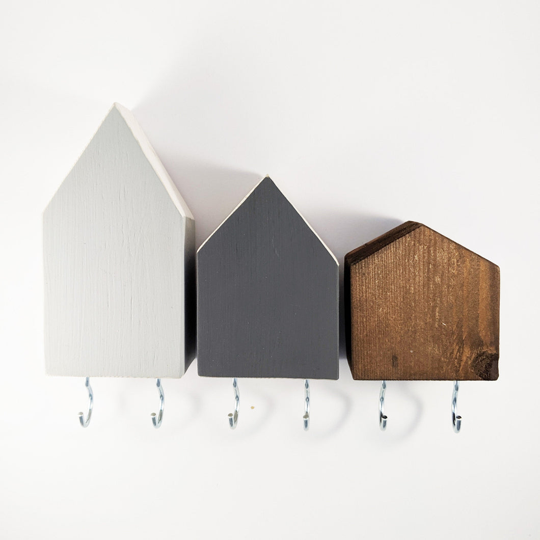 Wooden Houses Key Holder for Wall Wood Wall Art