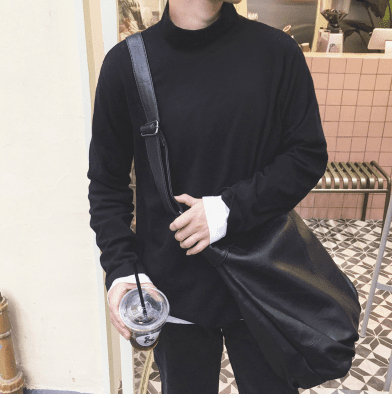 Autumn half high collar solid color long-sleeved T-shirt