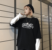 Two pieces Harajukuletters loose wild long-sleeved T-shirt
