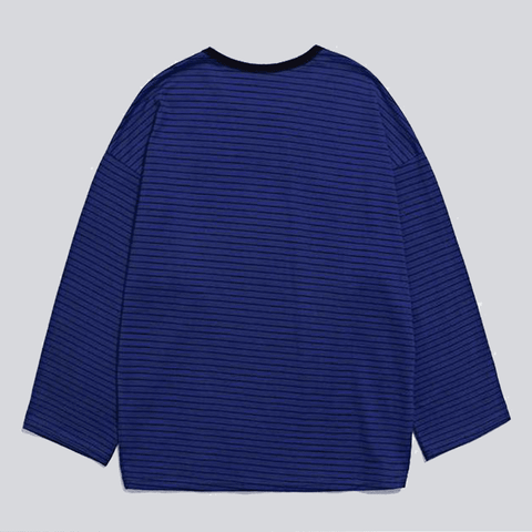 Black Blue striped long sleeve Tees