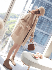 Autumn and winter Double sided Nizi woolen coat - shine
