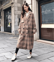 Loose slim long double-breasted retro plaid woolen coat female winter student thickening coat