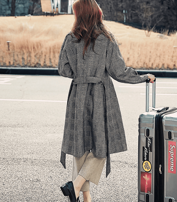 Autumn new plaid jacket loose long trench coat