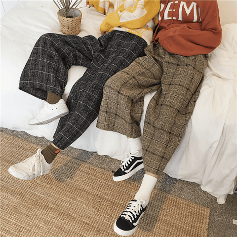 Plaid wide leg women casual nine pants