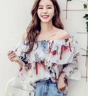 Flower lace chiffon shirt