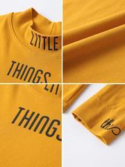 Little thing long-sleeves high neck tight Tees - shine