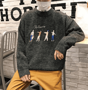 Embroidery men's round neck pullover sweater