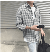Plaid and Fleecemen's long-sleeved shirt