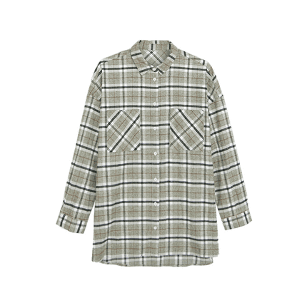 Big plaid long-sleeved shirt