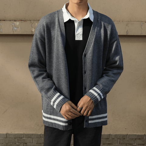 Autumn new knit cardigan men's jacket Korean version wearing V-neck college wind lovers sweater