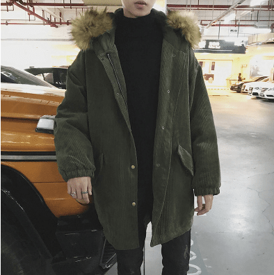 Corduroy+Cotton Men's Trend Long  Parka