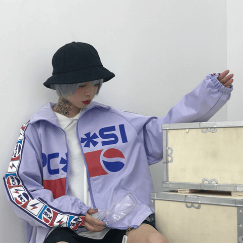 Pepsi retro icon string print zipper baseball uniform jacket
