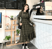 Autumn new retro style Slim waist Ruffled trumpet sleeves Dress