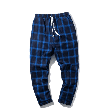 Autumn men elastic waist Plaid pants