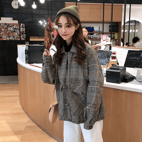 Woolen loose plaid Jacket