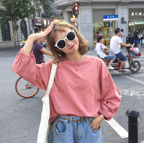 Loose candy color puff sleeve nine-point sleeve T-shirt - shine