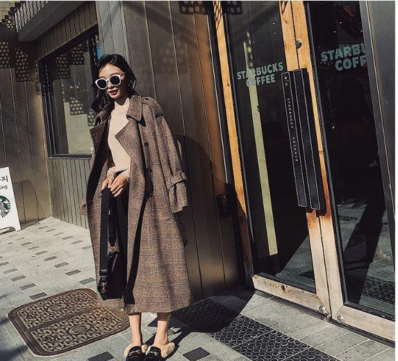 Plaid woolen coat female long section Korean version