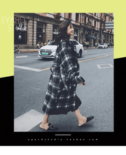 Black and white plaid woolen coat