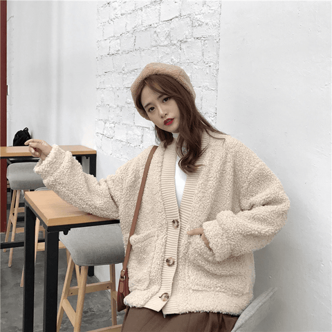 Loose thick double-layer imitation lamb hair cardigan jacket - shine