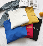 Simple solid color five-point sleeve T-shirt