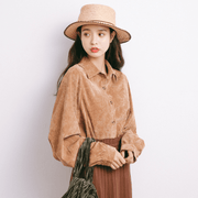 Autumn trendy Korean fashion shirt loose solid thin Lapel shirt - shine
