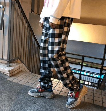 Autumn Men's elastic waist casual plaid pant