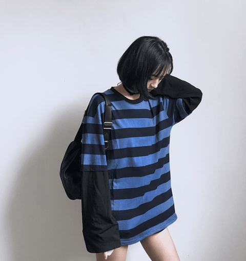 Harajuku stripes long-sleeved round neck loose tees