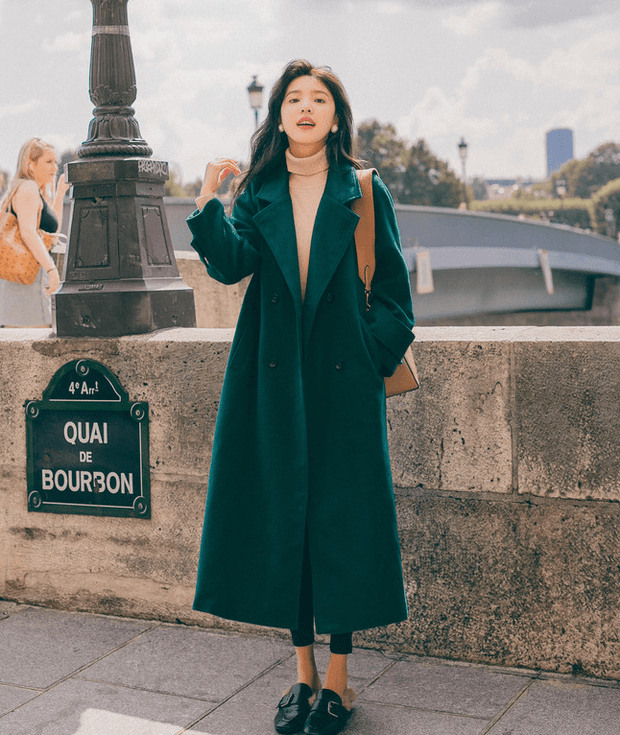Teal color woolen coat