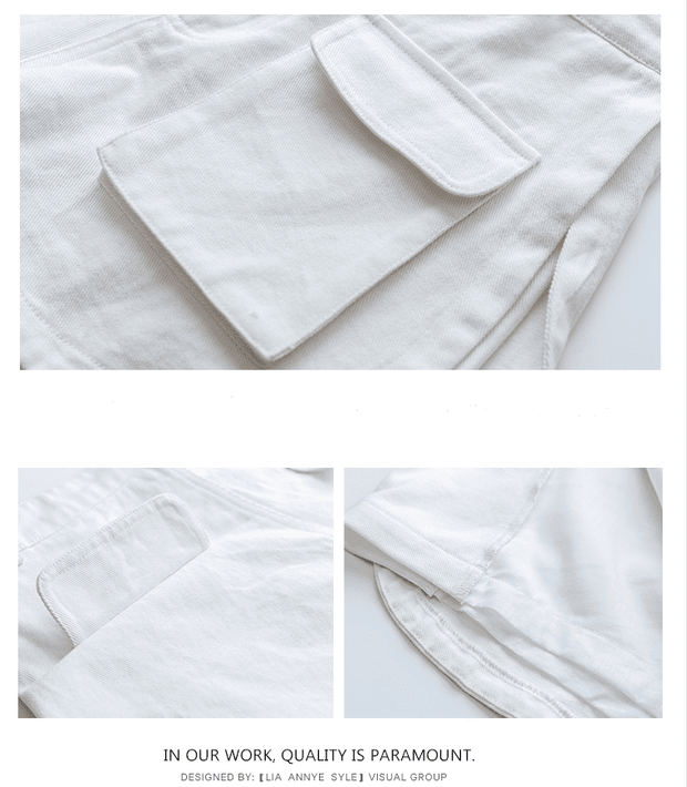 New Pocket White Denim Shorts - shine
