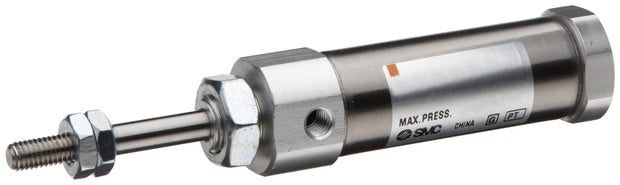 "SMC NCDJ2D10-100-B Stainless Steel Air Cylinder, Round Body, Double Acting, Double Clevis Mounting, Switch Ready, Rubber Cushion, 3/8"" Bore OD, 1"" Stroke, 0.157"" Rod OD, 10-32 UNF"