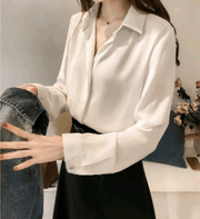 Korean simple chiffon shirt - shine