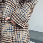 Plaid woolen long coat
