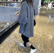 Autumn new casual loose wild long cardigan long-sleeved corduroy jacket - shine