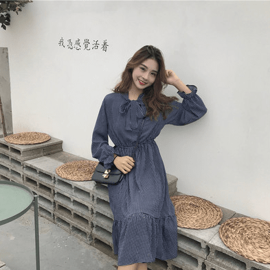 18 types Autumn and winter floral long-sleeved tie bow chiffon dress