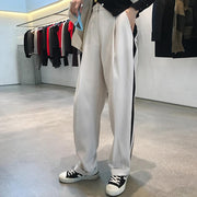 New loose slim trousers side stripes casual suit pants autumn - shine