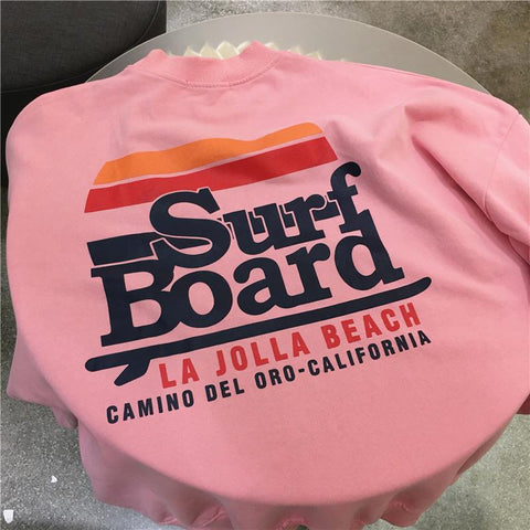 Autumn Surf board letter printing loose Sweatshirts - shine