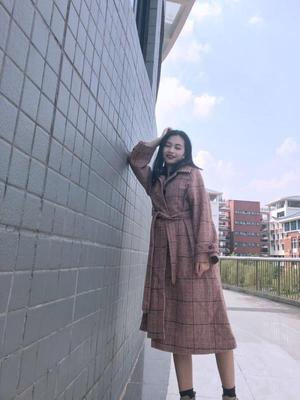 Plaid woolen Two color variable Long coat