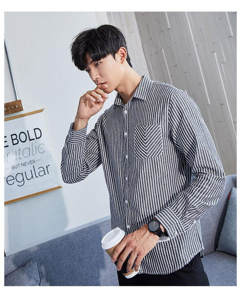 Vertical gray striped shirts