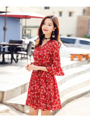 Floral dress female chiffon v-neck trumpet sleeve skirt