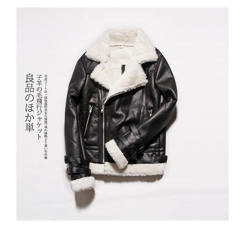 Imitation Lamb fur motocycle leather jacket