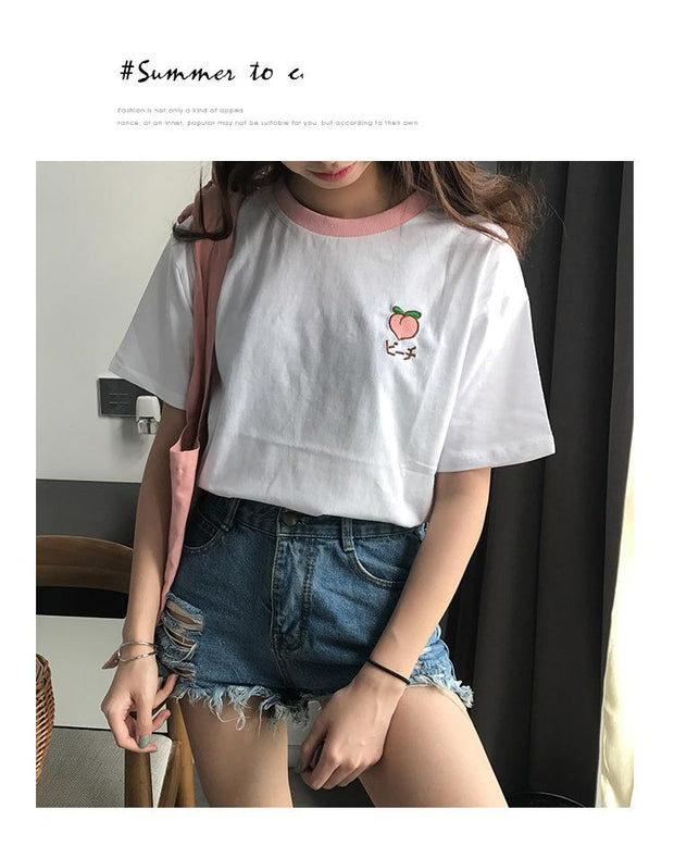 Summer Fruit Cotton Short Sleeve T-shirts - shine