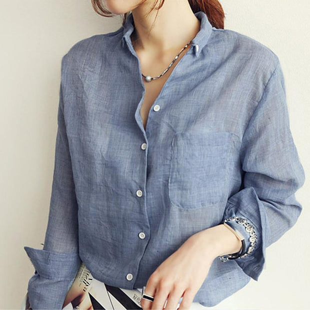 2018 Autumn Linen Shirt Women Long Sleeve - shine