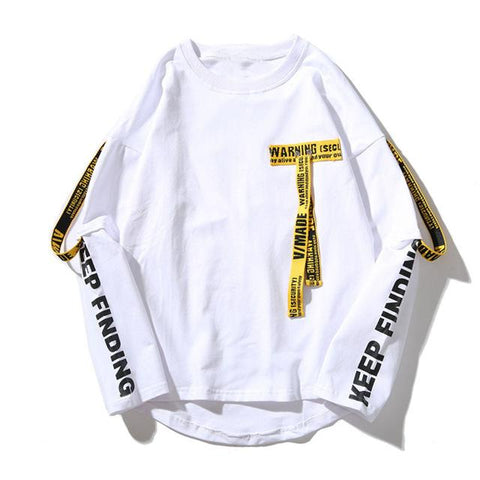 3d Shirt Printing Letter Ribbon Harajuku Cotton Long Sleeve Punk T Shirt