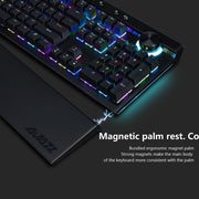 111 Keys RGB Mechanical Keyboard Box Black/Brown/Red/White Switches Ergonomic Arc With Dual-mode Knob and Wrist Rest