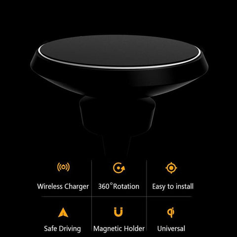 Wireless Charger Car Air Vents Clamp Magnetic Stand Holder