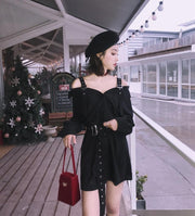 Hard Black Suspenders Dress Romper - shine