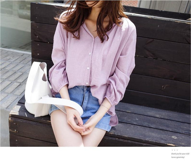 Batwing sleeve Korean Style Female Long Sleeves Blouses - shine