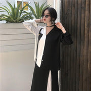 Korean Chic Style Black White Shirts Blouse - shine