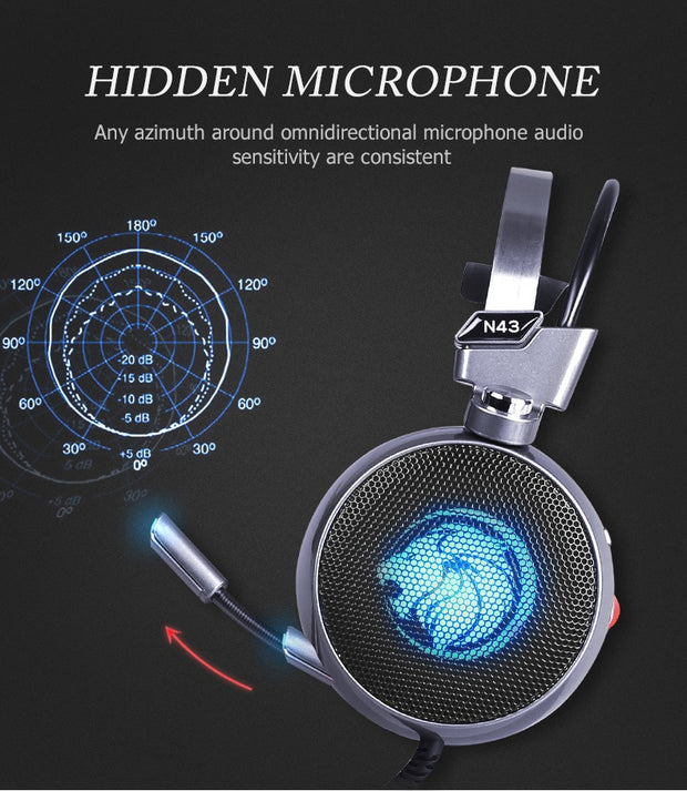 Stereo Gaming Headset 7.1 Virtual Surround Bass Gaming Earphone Headphone with Mic LED Light
